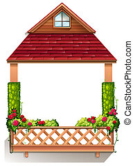 A porch with flowering plants - Illustration of a porch with...