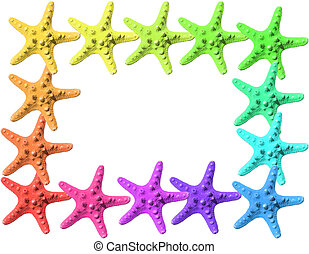 colorful starfish - frame made with colorful starfish