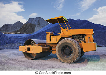 bulldozer tank road construction machine and sand rock for...