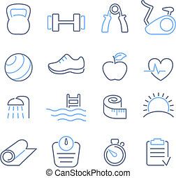 Fitness club icons set vector