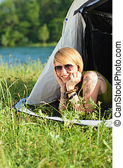 woman in tent