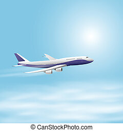 Illustration of airplane in the sky