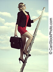 business woman stepping success - pretty business woman with...