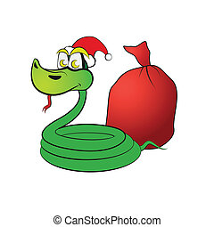 Snake in a hat, with gifts