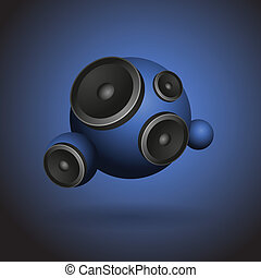 Abstract blue music background with round speakers