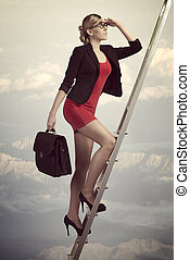 business woman dreaming - sensual business woman climbing...