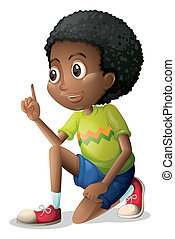 A cute Black kid - Illustration of a cute Black kid on a...