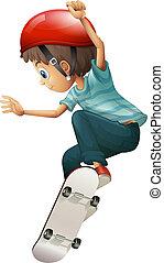 A young gentleman skateboarding