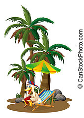 A duck reading near the palm trees - Illustration of a duck...