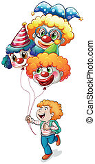 A happy young man holding clown balloons