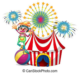A clown near the circus tent