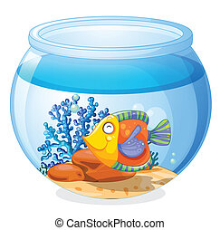 An aquarium with a fish - Illustration of an aquarium with a...