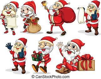 Happy Santas - Illustration of the happy Santas on a white...
