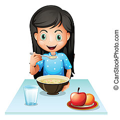 A smiling young lady eating breakfast