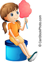 A young woman eating a cotton candy - Illustration of a...