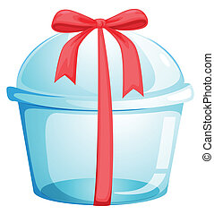 An empty cupcake container with a red ribbon - Illustration...