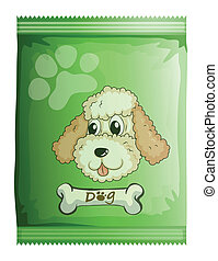 A pack of dog food - Illustration of a pack of dog food on a...