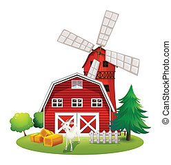A farm with a red house and a windmill - Illustration of a...