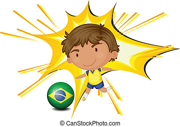 A football player from Brazil - Illustration of a football...