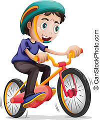 A young boy riding a bicycle