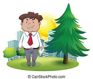 A fat businessman standing beside the pine tree -...