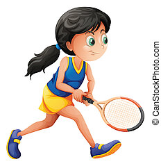 A young female player playing tennis - Illustration of a...