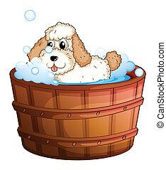 A brown bathtub with a dog taking a bath - Illustration of a...