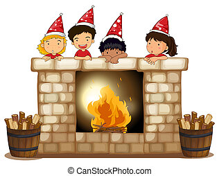 Playful kids at the fireplace