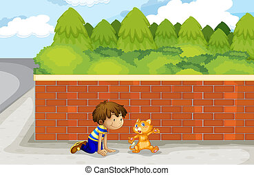 A boy and his pet - Illustration of a boy and his pet