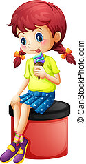 A cute little girl eating icecream - Illustration of a cute...