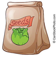 A paper pouch with seeds - Illustration of a paper pouch...