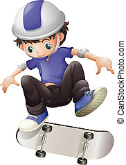 A young boy skating - Illustration of a young boy skating on...