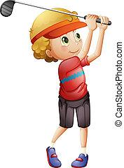 A boy golfing