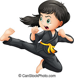 A brave girl doing karate - Illustration of a brave girl...