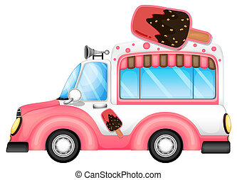 A pink car selling icecream - Illustration of a pink car...
