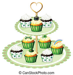 Green cupcakes with a stand