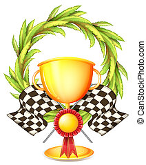 A golden trophy - Illustration of a golden trophy on a white...