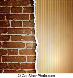 Ragged paper with a pattern of lines on brick wall background