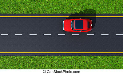 road with red car top view - with a car on asphalt road and...