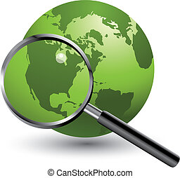 magnifying earth - A magnifying glass takes a closer look at...