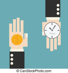 Business hand change time and money concept
