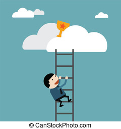 Businessman climb of stair