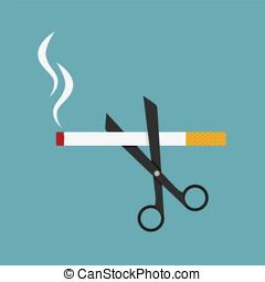 scissors cut a cigarettes concept - scissors cut a...