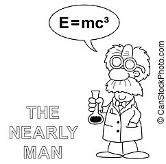 The nearly man - Monochrome outline cartoon the nearly man...