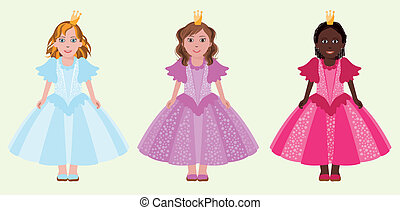Three little friends princess, vector illustration