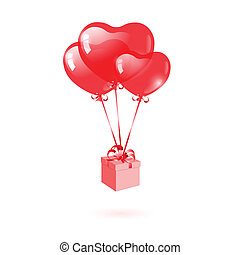 Gift with a red heart-shaped balloon