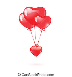 Glossy heart with a red heart-shaped balloon
