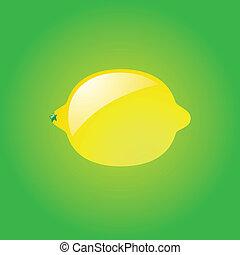 Lemon on green background