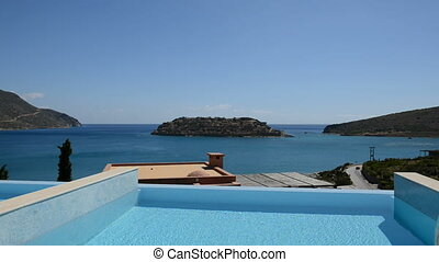 Swimming pool at luxury villa with view on Spinalonga...