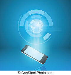 Touch screen mobile phone with hologram of earth